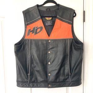 Harley Davidson Orange & Black Leather Vest